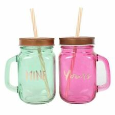 Set of 2 Mine and Yours Drinking Jars