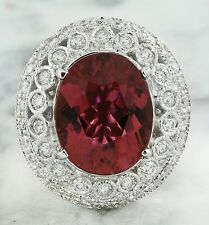 9.89 Carat Natural Tourmaline 14K White Gold Diamond Ring