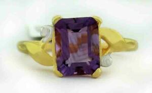 GENUINE 1.63 Cts AMETHYST RING 10K GOLD ** Free Certificate Appraisal **