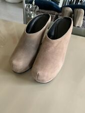 EUC RICK OWENS WOMEN's TAUPE SUEDE WEDGE MULE (Clog) See All Photos