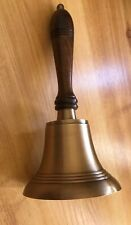 SOLID BRASS LARGE HEAVY HAND BELL WITH WOOD HANDLE GREAT COLLECTIBLE
