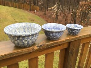 The Workshops Of Gerald E Henn Pottery Heavy Blue Sponge Ware Mixing Bowls Set 3