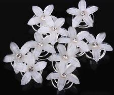 *10 Curlies* Haarspirale Blume Weiß Strass Hochzeit Braut Haarschmuck Haarnadeln