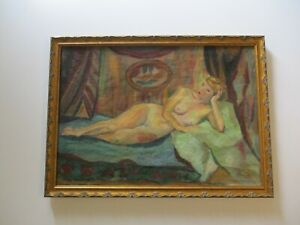 VINTAGE ANTIQUE IMPRESSIONIST PAINTING NUDE FEMALE MODEL  PRETTY WOMAN FRENCH