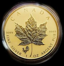 2017 Canada Silver Maple Leaf ROOSTER PRIVY .9999 1oz Coin Encased in 24KT Gold