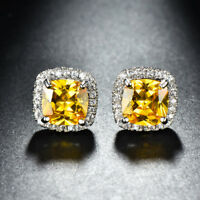 Natural Handmade Square Cut Golden Citrine Gemstone Silver Stud Hook Earrings