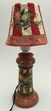 Annie's Treasures Red Floral Painted Decorative Lamp Stitched Shade Cottage Chic