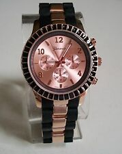 Women's rose gold/black silicone with metal band fashion boyfriend watch