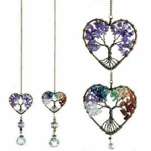 Hanging Crystal Suncatcher Life Tree Stone Beads Prism Pendant Window Decor NEW