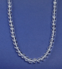 "24"" Natural clear faceted 10mm crystal bead silver toggle necklace NKL240008"