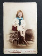 Rare Victorian Cabinet Card: Boy Colour Tinted: Long Ginger Hair: London: 1 of 2