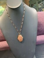 Vintage Stone Pendant Necklace  Seed Beaded Chain 18""