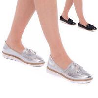 New Womens Ladies Flat Platform Ladies Tassel Patent Slip On Pumps Loafers Shoes