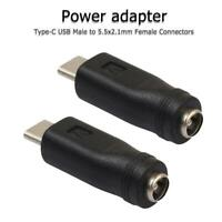 2pcs DC Type-C Power Adapter Converter USB Male to 5.5x2.1mm Female Connector