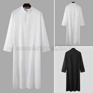 Mens Muslim Clothing Dishdash Jubba Kaftan Thobe Arab Robe Islamic Saudi Dress