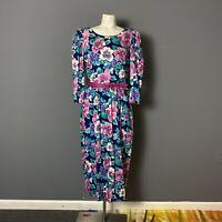 Vintage 80s Lanz Originals Womens Size 14 Floral Print Belted Midi Dress Modest