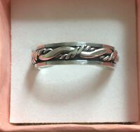 NAUTICAL TWIST WITH ROPE AND LINES - BAND   - STERLING SILVER SIZE 8-9-10-11
