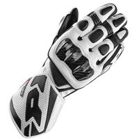 Spidi Carbo 1 Motorcycle Bike Leather Racing Sport Carbon Gloves - Black White