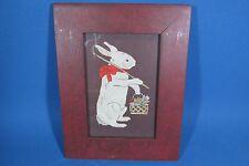 Sandra Gilpin Scherenschnitte Scissor Cut Bunny Rabbit in Grain Painted Frame