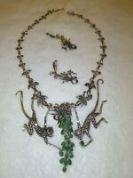 Estate Emerald  Silver Floral Monkey Drop Necklace & Earrings Set 81.5 Grams
