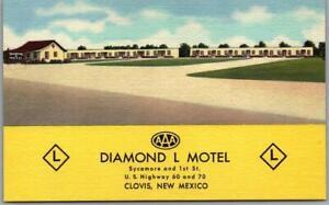 CLOVIS, New Mexico Postcard DIAMOND L MOTEL Highway 60 Roadside Linen c1940s