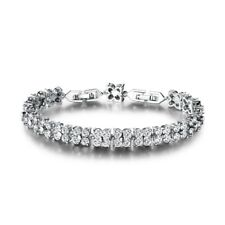Brilliant White Topaz Crystal Promise Women Silver Tennis Bracelet Chain Jewelry