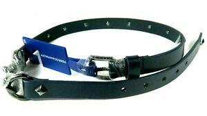 REBECCA MINKOFF Dog Clip Studded Skinny Leather Belt Navy Women's XS
