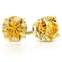 3.00Ct Round Yellow Diamond Round Stud Earrings 10k Solid Yellow Gold D/VSS1