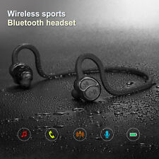 Wireless Bluetooth Sweatproof Headset Stereo Sports Earbuds Headphone Black
