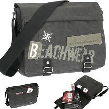 Messenger Bag BEACHWEAR CANVAS DIN A4 Kuriertasche Schultertasche Tasche SCHWARZ
