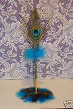PEACOCK FEATHER PEN &PEACOCK FEATHER BASE  GIFT/WEDDING