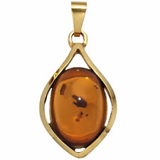 Colgante Auténtico Ámbar naranja-marrón oro 375 Oro Amarillo COLLAR MUJER