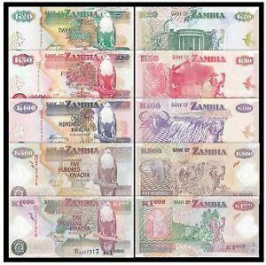 Zambia Banknote 5pcs Set (UNC) 全新 赞比亚 5张 (20 50 100 500 1000克瓦查)