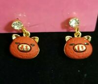 Betsey Johnson Orange Red Enamel Rhinestone Crystal Dangle Puffy Pig Earrings