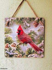Winter Christmas wall decor, Red Cardinal bird Kitchen wall art, Wood wall sign