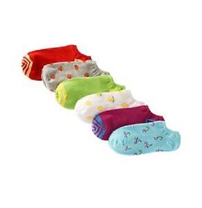 Hue Womens Socks Sz OS Fruit Multi Color Cotton Liner 6 Pair Pack Socks U6421