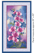 Orchid Shadows  Panel   Blue Orchid 100% Cotton Quilting Fabric