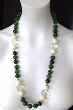Bakelite Lucite Glass Beads Necklace Vintage 1940's Gold Tone Beaded Green