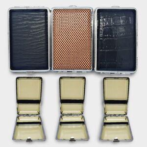 Metal Leather Cigar Cigarette Case Tobacco Holder Storage Container Pocket Box