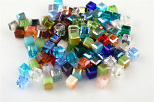 50pcs Random Mixed Color Glass Crystal Faceted Cube Beads 6mm Spacer Findings