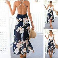 Sale Lady Summer Floral Dress Boho Party Split Long Maxi Beach Chiffon Sundress