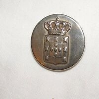 ANTIQUE S R & CO SILVER WHITE METAL BUTTON POSSIBLY MILITARY CREST & CROWN