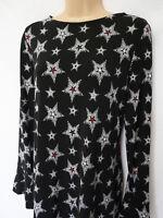 BNWT NEXT New Ladies black stars print fluted sleeve swing tunic jersey dress