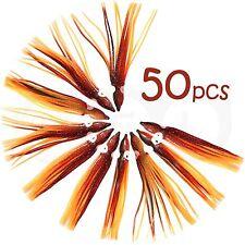 "50pcs 4-3/4"" Brown Orange Squid Skirts Octopus Hoochies Rock Fish soft Lures NEW"