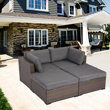 4PCS Patio Sofa Set Outdoor Wicker Furniture Garden Rattan Sectional Set
