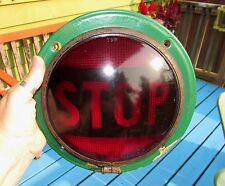 Vintage Large Red Glass Stop Brake Light, Cats Eye No.100, From 40s School Bus