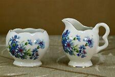 Vintage Interco Chicago Mini Porcelain Creamer Open Sugar Bowl Set Blue Flowers