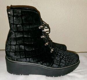 Stuart Weitzman Velvet Combat Boots 9.5M Black