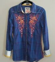 Roar Snap Button Down Shirt Top Embellished Roll Tab Sleeve Womens Size M