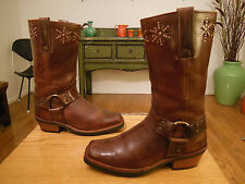 Vtg FRYE Women's Brown Leather STUDDED Harness, Biker, Urban Hipster Boots   7M